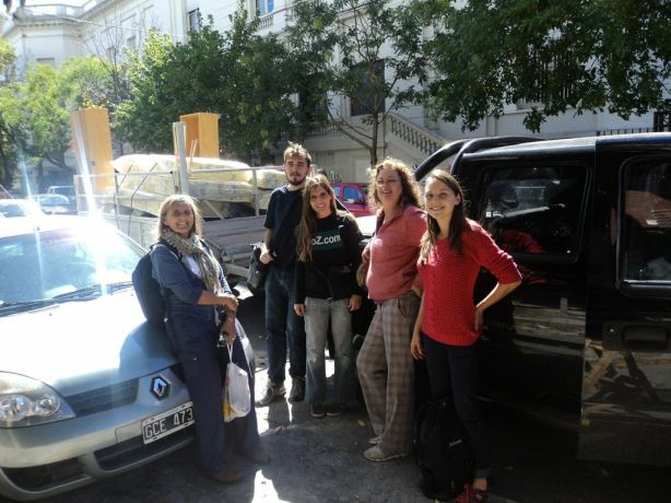 Translators and the ProZ.com team gathered outside the ProZ.com office to begin delivering supplies to the three schools.