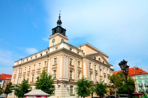 Poland - city view in Kalisz. Greater Poland province (Wielkopolska). City Hall at the main square (Rynek).