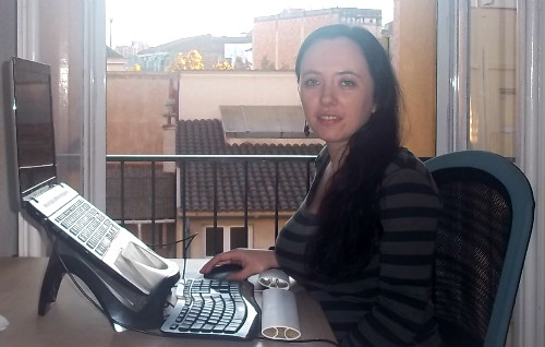 Jacqueline Lamb in her home office in Barcelona.