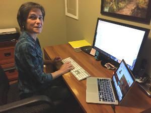 Frederique Griffith working from her home in Saint Louis.